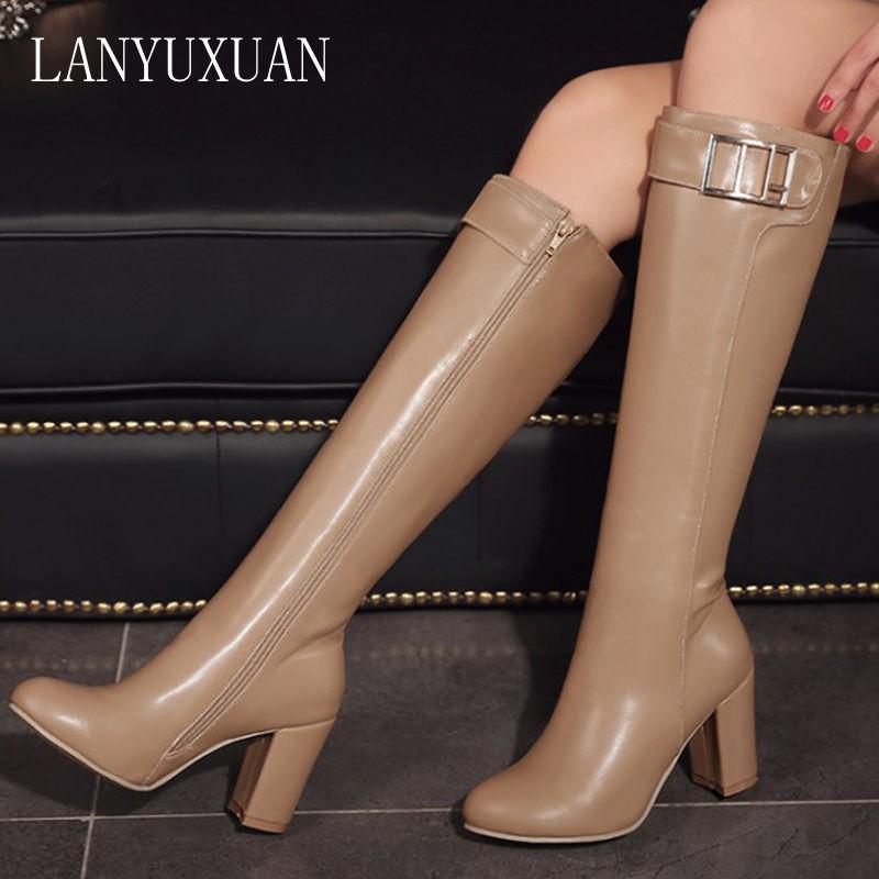 2017 г. Женские сапоги, большой размер 32-45, фирменный дизайн, цветные сапоги до колена тонкие длинные сапоги на толстой подошве, на платформе, н...