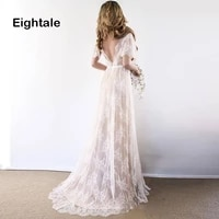 eightale beach plus size wedding dresses 2019 v neck backless bridal dresses lace short sleeves princess lace boho wedding gown