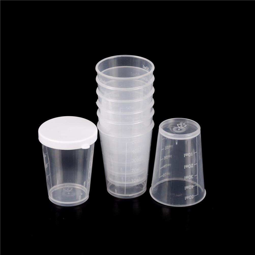 10 unids/set de 50ml de plástico graduado laboratorio de prueba de medición recipiente tazas con tapa de plástico tazas para medir líquidos