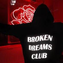 Broken dreams club 반사 형 까마귀 검은 색 tumblr 영감을 얻은 미적 파스텔 그런지 미학 unisex tumblr black hoody
