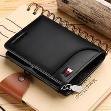 WilliamPOLO marque haute en cuir véritable hommes portefeuilles à trois volets portefeuille avec fermeture éclair monnaie poche porte-monnaie en cuir de vache souple portefeuille hommes porte-cartes