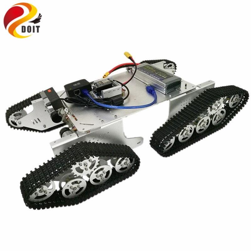 T900 4wd monitor de vídeo tanque chassi com roteador openwrt + câmera hd de DT-06 módulo wi-fi + kit placa motorista