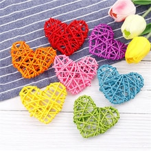 5pcs/set 7cm Colorful Cute Heart Rattan Ball Sepak Takraw DIY Ornament Birthday Home Party Wedding Decoration Gifts Supplies