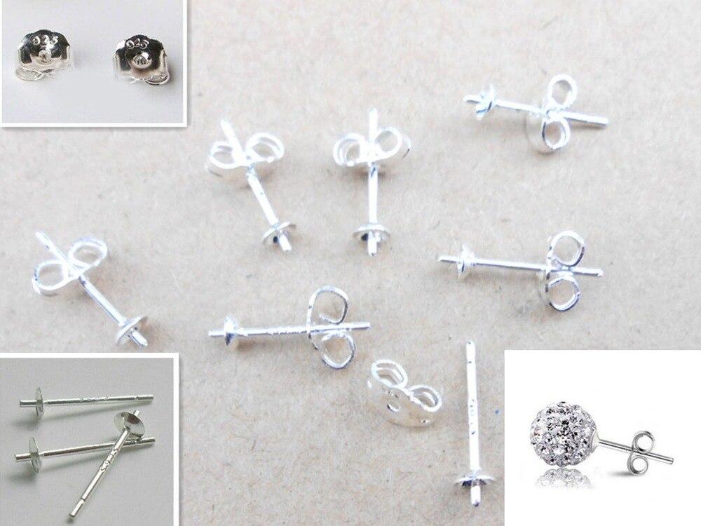 Бесплатная Ювелирная фурнитура 100 шт оптом 925 стерлингового серебра, серьги-гвоздики, FY-01 ручной работы + 02