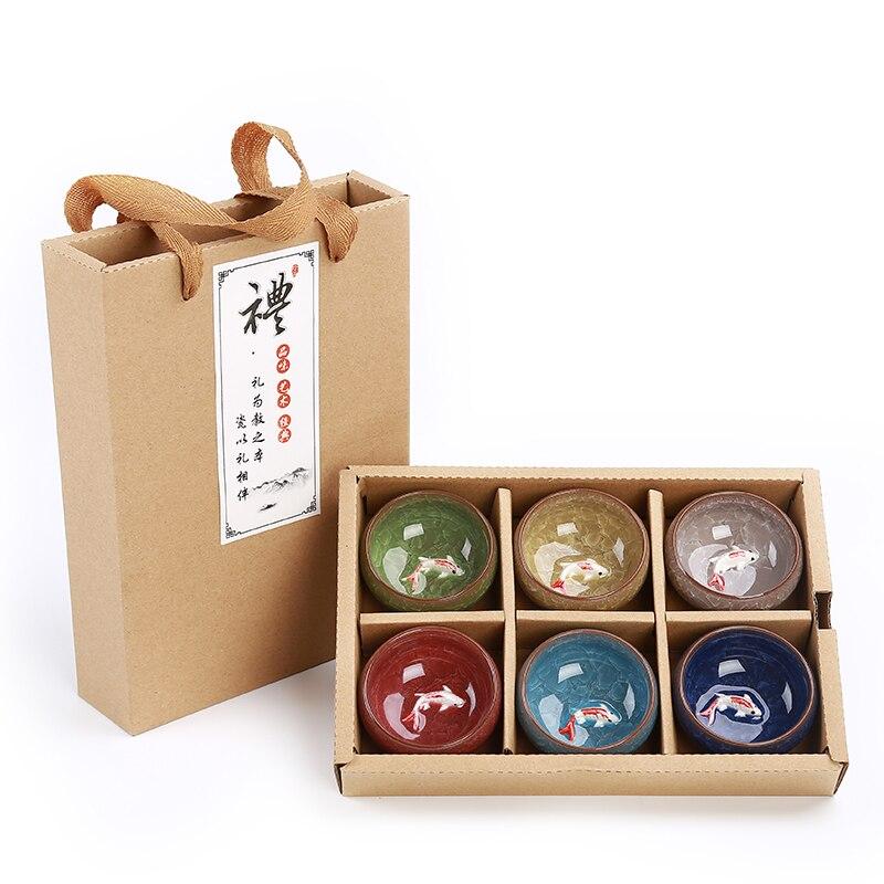 Paquete de regalo 6 uds 3D Golden Fish China juego de tazas de té, juego de té Kung Fu craquelado glaseado viaje tazón de té chino juegos de té