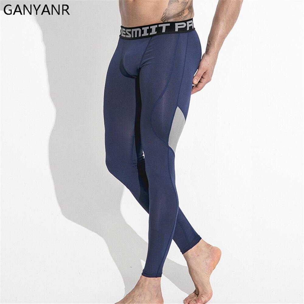 Мужские трико для бега GANYANR, длинные облегающие штаны для баскетбола, фитнеса, фитнеса, тренажерного зала, бодибилдинга, зимних занятий спор...