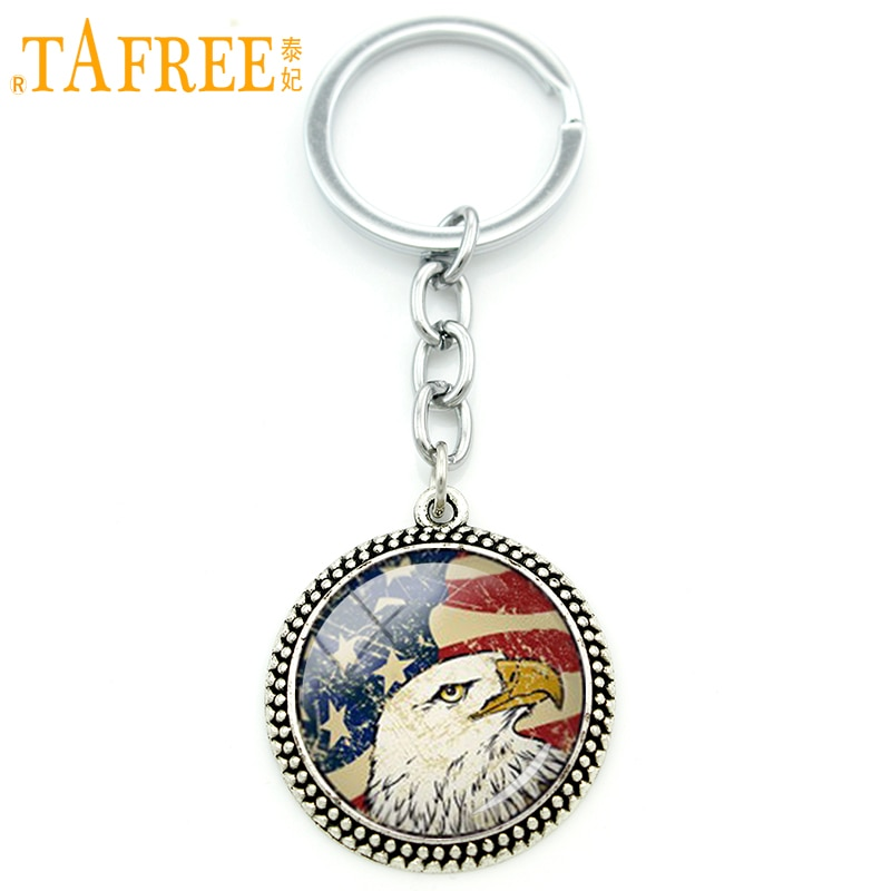 Tafree vintage nacional simbólico chaveiro bald bandeira americana eua arte pingente chaveiro chaveiro titular masculino feminino jóias kc249