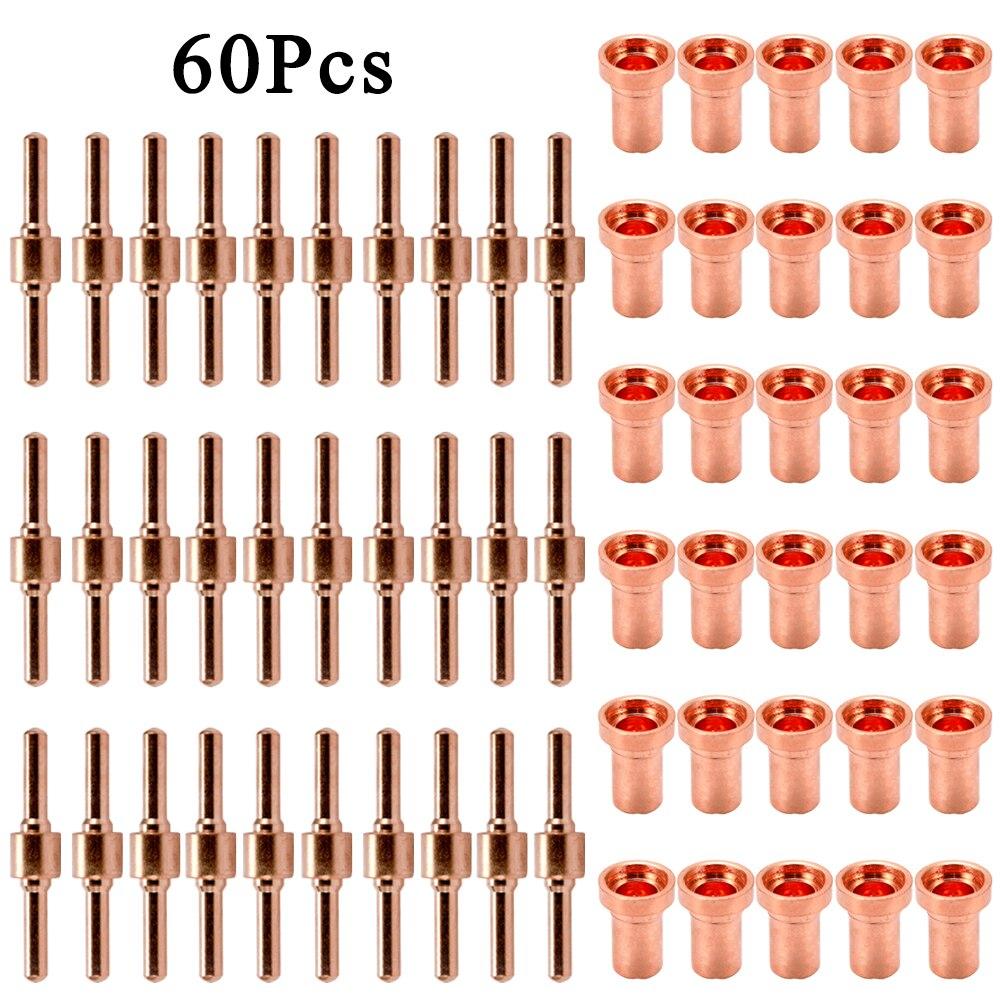 Boquilla de electrodo de Punta larga para cortador de Plasma, de cobre rojo, para corte PT31 L-G40 40A 60 unidades