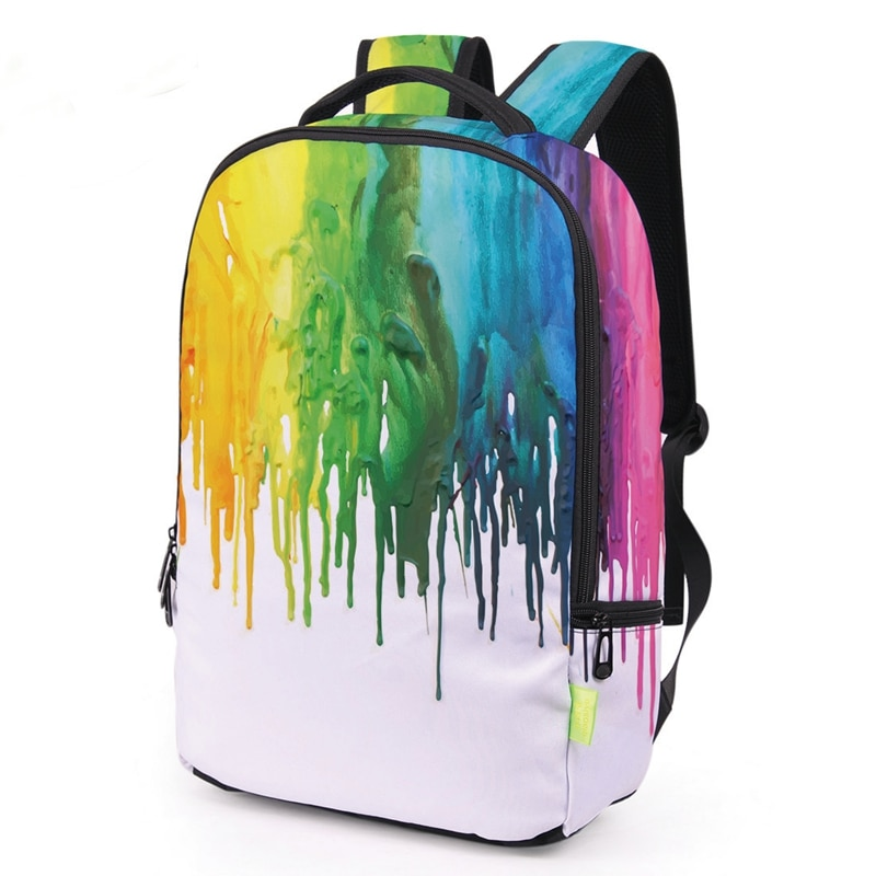 Multi-color splash-tinta aquarela moda feminina mochila para adolescente menina feminina casual mochila