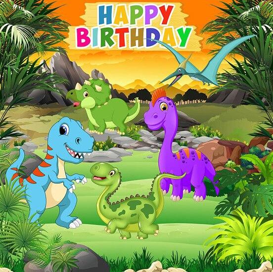 Nach baby dinasaurs jurrasic park glücklich geburtstag cartoon foto hintergrund fotografie kulissen qualität vinyl