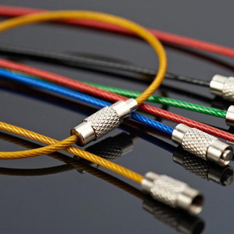 10 Uds., senderismo al aire libre, Multicolor, 1,5mm, cable de acero inoxidable, anillos, cable con llavero, llavero, herramienta de llavero