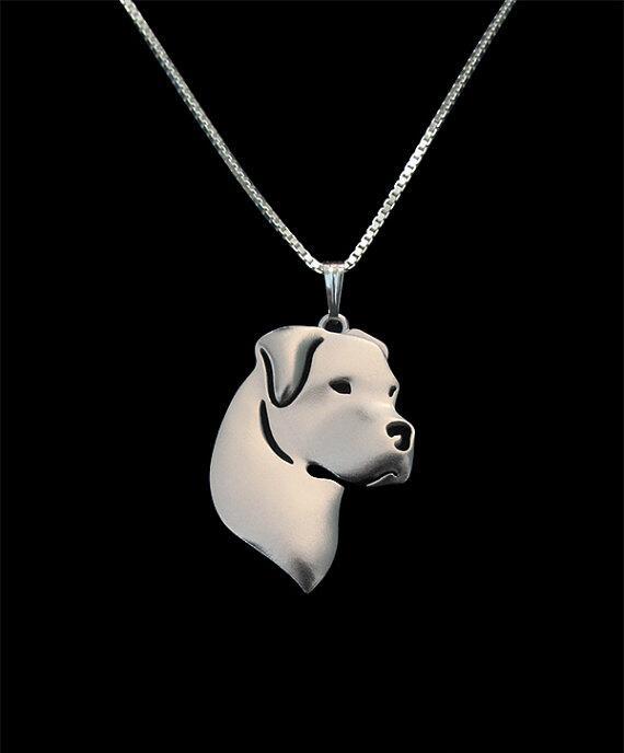 DANGGAO moda nuevo único hecho a mano Dogo Argentina gargantilla Collar para mujer colgante collar joyería amantes de mascotas regalo