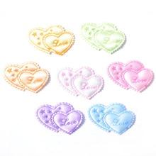 40 Uds mezcla doble corazón Love & 'Star' tela de encaje almohadillas parches apliques para artesanía/ropa/decoración de boda DIY K33