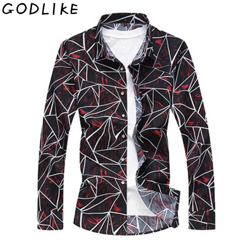 Men Fashion Casual Shirts Men's Pattern Casual Fashion Printing Lapel Camouflage Long Sleeve Flower Shirt Plus Size 7XL 6XL 5XL