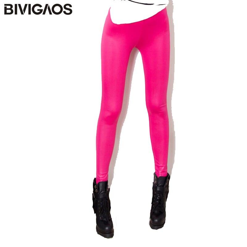BIVIGAOS модные весенне-летние женские обтягивающие тонкие леггинсы из искусственной кожи матовые кожаные брюки женские леггинсы для женщин Сексуальные леггин