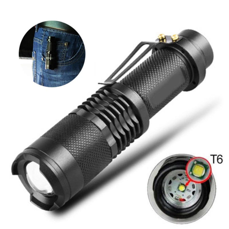 ZK20 8000 lúmenes 5 modo T6 LED linterna Zoomable recargable foco linterna Flash lámpara por 1*18650 sin batería