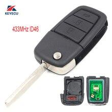Keyecu Vervanging Flip Afstandsbediening Sleutelhanger 3 + 1 Knop 433 Mhz ID46 Voor Pontiac G8 2008-2009/ chevrolet Caprice 2011-2013
