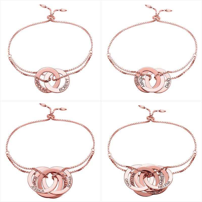 Großhandel Rose Gold Farbe Personalisierte Russische Armband Kunden Russische Armband Familie Armband Für Geschenk