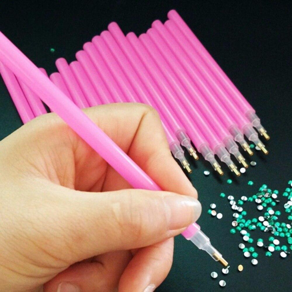 10 Pcs/lo red Nail Rhinestone Picker Pen Set Gems Dotting Pencil Easily Picking Wood Accessory Manicure Nail Art Tool Kit