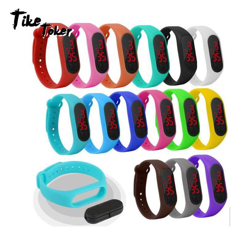 Мужские и женские спортивные светодиодные цифровые часы, часы с кольцом, светодиодные спортивные электронные часы, силиконовые электронны...