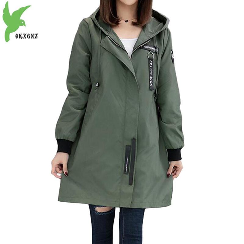 Trench coat Womens 2020 Spring Autumn Hoodies top Plus size Slim Students Baseball clothes Medium length Windbreaker Coats A1934