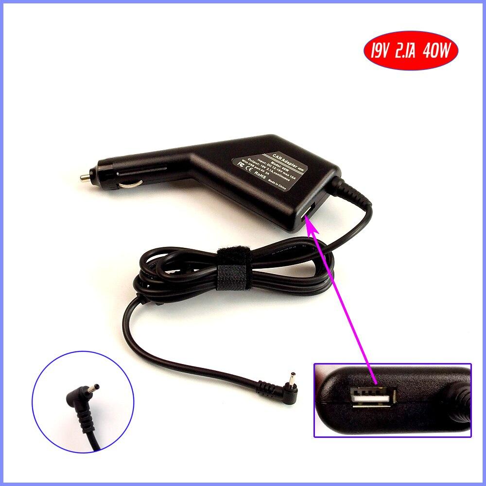 19 V 2.1A 40 W Laptop Carregador de Carro DC Adaptador + USB (5 V 2A) para asus eee pc 1225b 1225c 1025c 1025ce seashell 1015peg