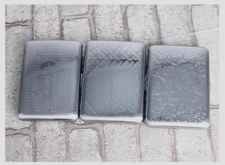 slim Silver Polish Flower Engrave Cigarette Case Box Portable 16 Tobacco Storage case Container metal Cigarette Holder box Cases enlarge