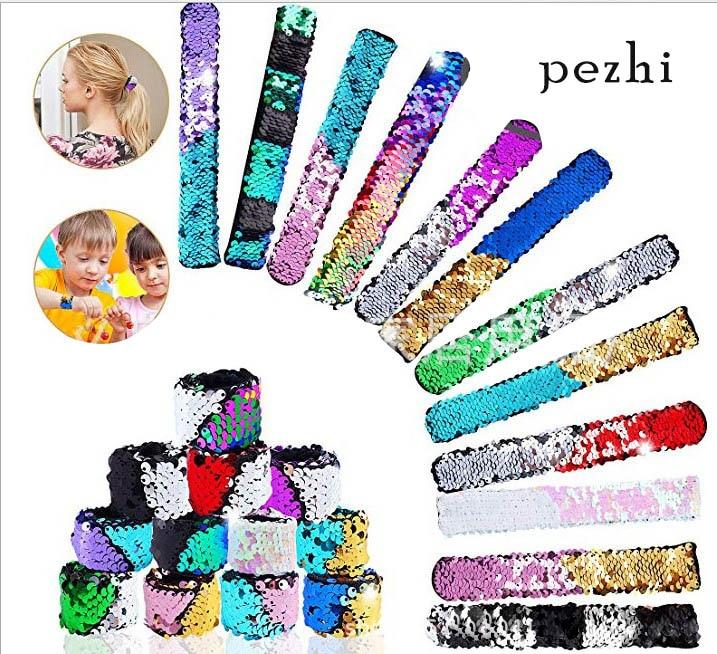Pulseras de sirena Slap de dos colores reversibles encanto lentejuelas Flip pulseras lentejuelas niño Festival Fiesta brazaletes