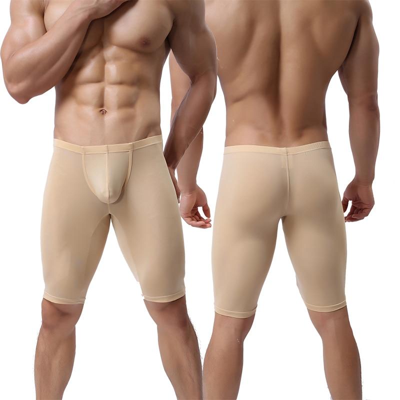 Men Ultra-thin Underwear Transparent Men Boxer Sculpting Half-length Solid U Convex Pouch Boxer Mens Long Underwear