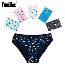Funcilac Sexy Vrouwen Slipje Vlinder Dot Print Slips Kawaii Meisjes Bikini Katoen Kruis Plus Size Ondergoed M-XL 5 Stks/set