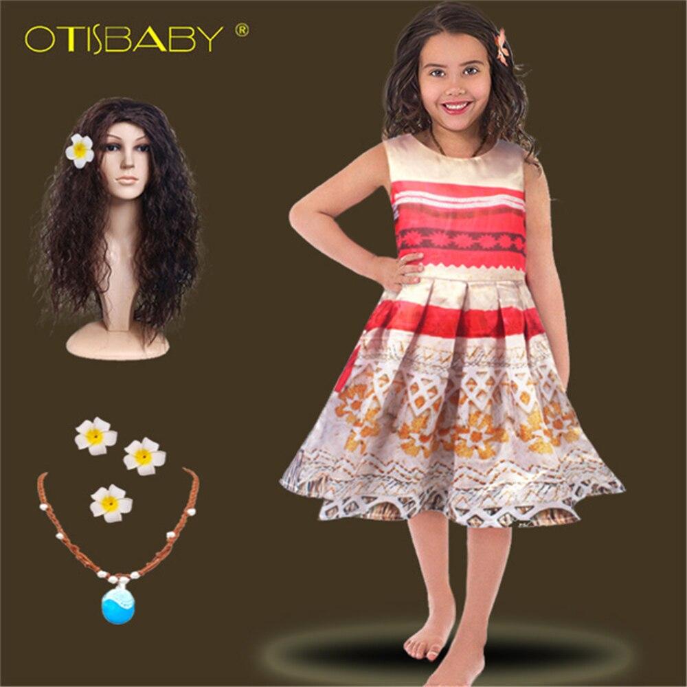 Niñas princesa disfraz Cosplay Moana vestido de navidad niños Flor retro sin mangas impresión Vaiana vestido collar Halloween Dress Up