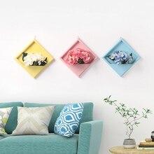 Nuevo florero de marco de madera para decoración de pared del hogar marco de fotos perchas de pared maceta y flores falsas artificiales conjunto de imagen marco
