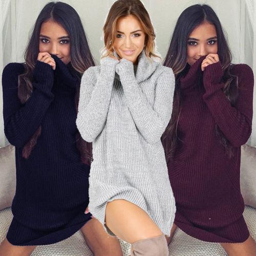 Mulheres Pescoço Capuz Solto Camisa de Manga Comprida Oversize Sweater Jumper Tops Vestidos Das Senhoras Vestido de Camisola de Gola Alta