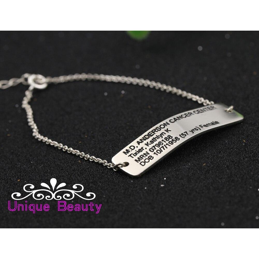 Charme gravado personalizado pulseira 925 prata sólida endereço de indicação pulseira personalizado endereço da família memorial jóias