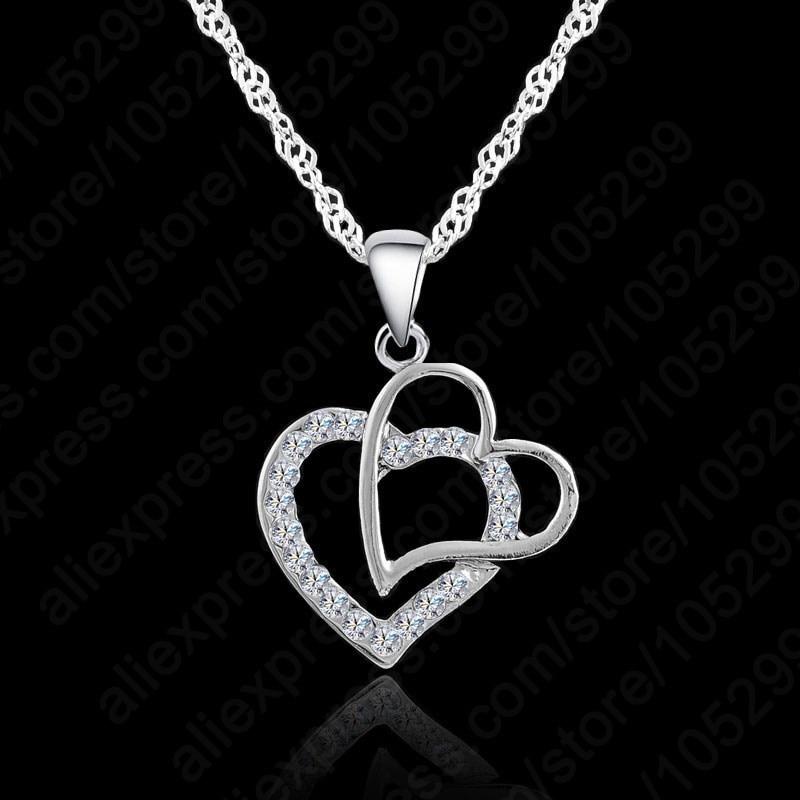Women Gift Romantic 925 Sterling Silver  Heart Shape Chain Necklace Crystal Pendant Necklace Women Wedding Jewelry недорого