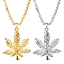 MQCHUN mode argent couleur or Cannabiss petite herbe herbe breloque collier feuille dérable pendentif collier Hip Hop bijoux pour hommes