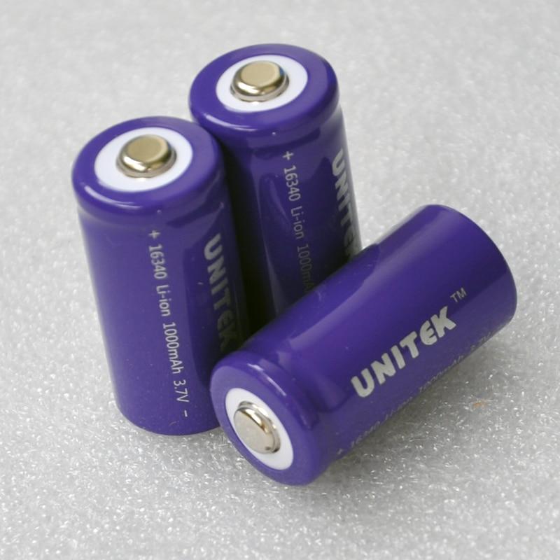 12-20 шт./лот UNITEK 16340 3,7 vICR литий-ионная батарея 1000 мАч перезаряжаемая литий-ионная батарея CR123A CR 123 для лазерного фонарика