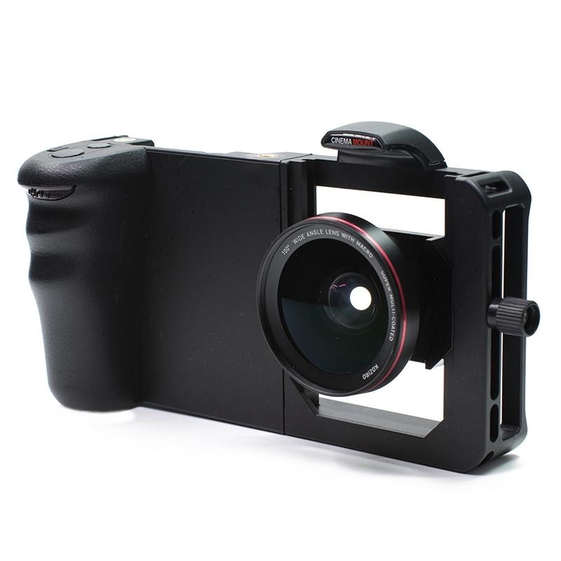 Estabilizador de teléfono móvil profesional Mini Dslr gran angular Macro Universal conejo jaula 2 en 1 lente de teléfono móvil