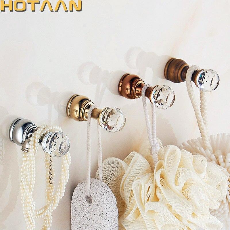 Хрустальный крючок Античная латунная настенная вешалка для одежды тканевый крючок настенный крючок для халатов в ванную аксессуар вешалка медный материал YT3011