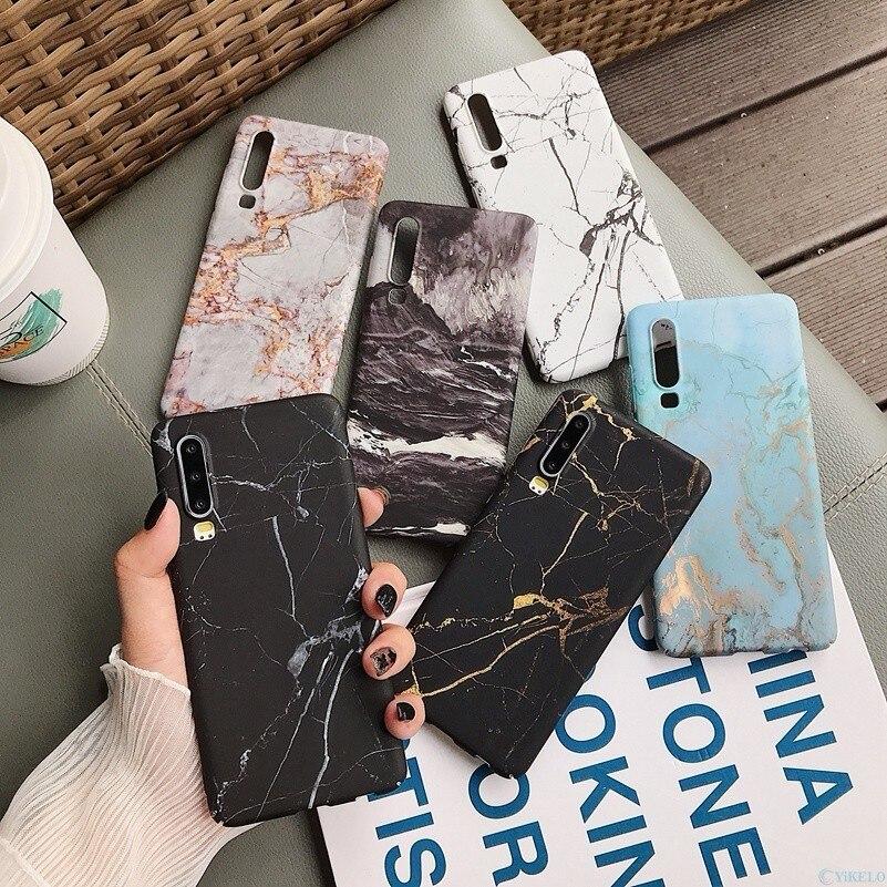 Funda trasera de teléfono de mármol para Huawei P20 P30 Mate 20 Pro Lite Nova 4 P Smart 2019 Honor 10 lite patrón duro PC completo cubierta Coque