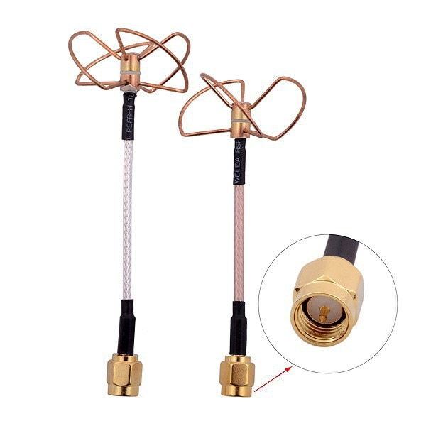 Juego de 5 antenas Cloverleaf de forma recta de 5,8 GHz conector macho SMA (10 unidades)
