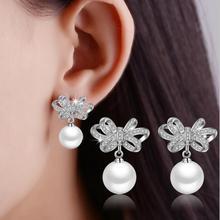 MEEKCAT 925 bijoux en argent Sterling brillant CZ Zircon noeud papillon perle boucles doreilles pendientes boucles doreilles oorbellen S-E351