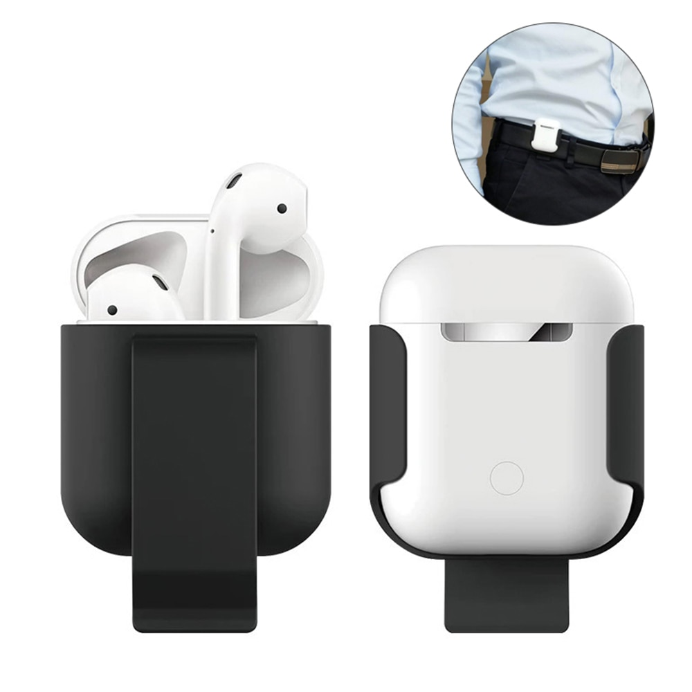 SIANCS para Apple funda de AirPods cubierta de piel bolsillo soporte Protector para AirPods caja de Carga de auriculares inalámbrica caja clip de cintura