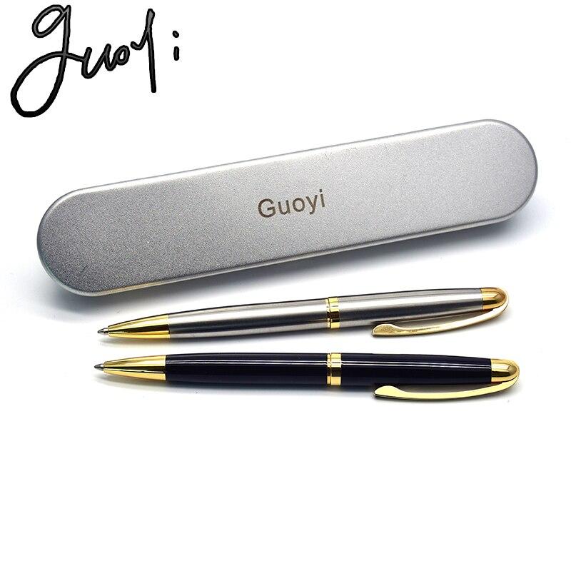 Guoyi Q39 G2 424 çelik kabuk tükenmez kalem Metal high-end iş ofis hediyeleri ve kurumsal logo özelleştirme imza kalem
