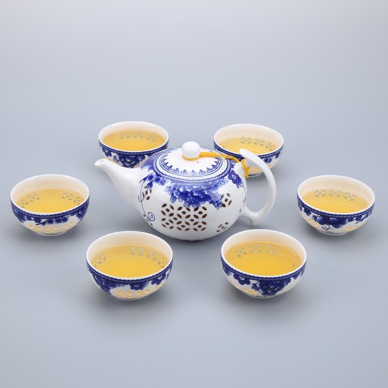 الأزرق والأبيض السيراميك إبريق الشاي كوب 7 قطعة رائعة الخزف الغلايات الشاي كوب ل بوير الصينية الكونغ فو الشاي مجموعة Drinkware