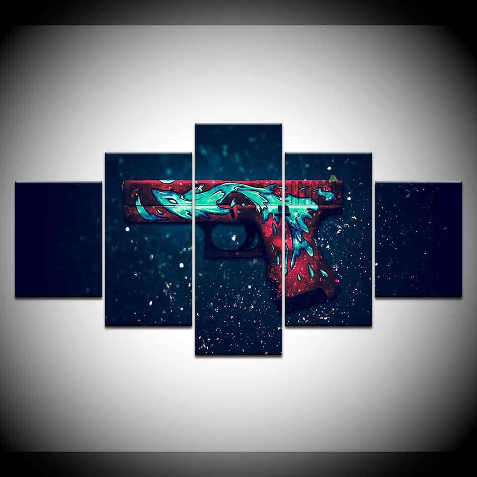 Counter Strike gun 5 piezas de arte de la pared de la impresión de lienzo moderno cartel de pintura de Arte modular para la decoración del hogar de la sala de estar