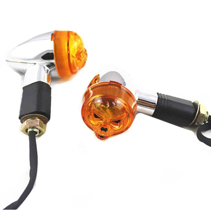 זוג גולגולת הפעל אות אור עבור הונדה רחוב אופני עפר אופני Dual ספורט אופני קרוזר Bobber קפה רייסר ספר ישן אופנוע