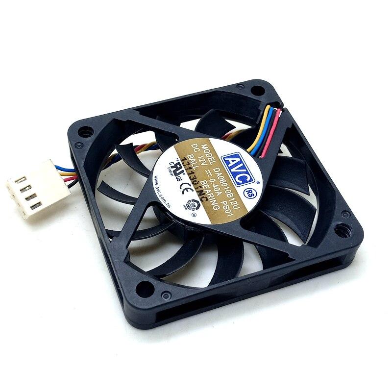Ventilador pwm de 60mm delgado para AVC DA06010B12U 10mm de espesor 6010 12V 0.40A 60*60*10 MM ventilador de enfriamiento de volumen de aire suave