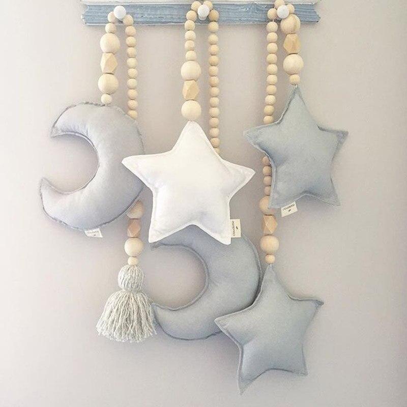 Cuentas de madera de estrella de la luna decoración de la habitación del bebé adornos coloridos de la cama del bebé tiendas para niños adornos decorativos accesorios del cochecito de los niños