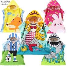 Children Cotton Beach Cloak Towel Kids Mermaid Shark Pattern Cartoon Hooded Bath Towel For Baby Boys Girls